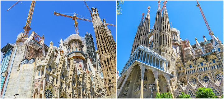 collage of exterior construction going on at La Sagrada Familia A Gaudi Barcelona Tour
