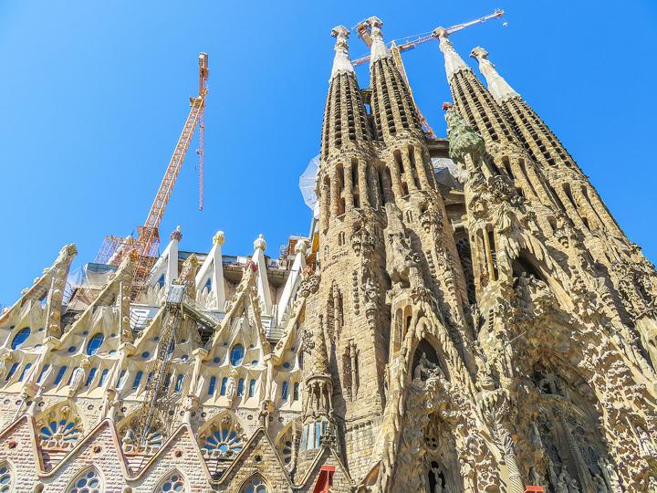 looking up at the tower construction at La Sagrada Familia A Gaudi Barcelona Tour