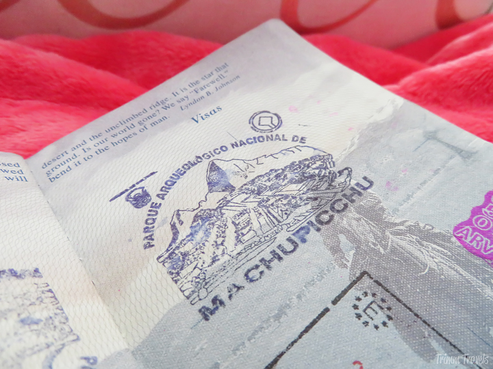 my machu picchu stamp in my passport