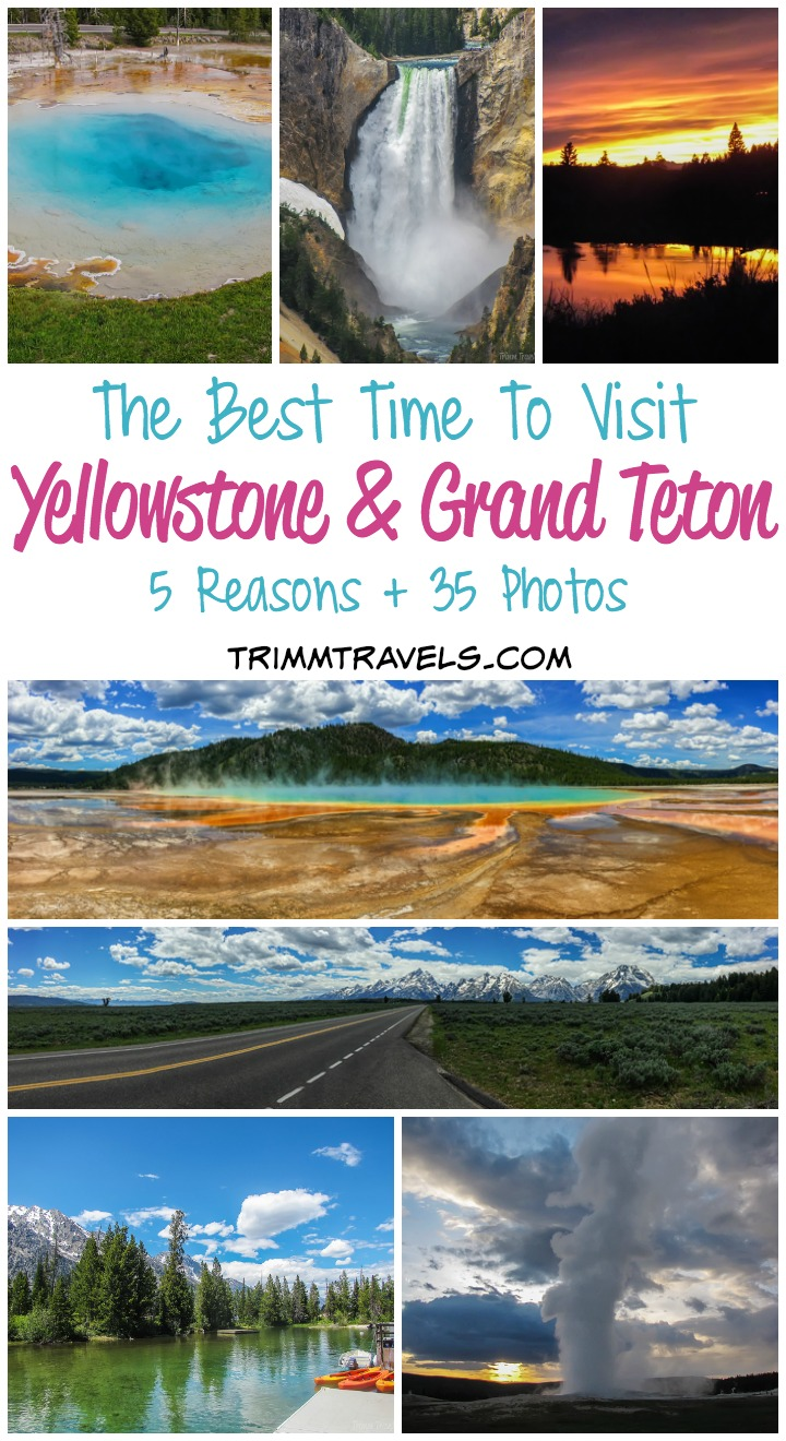 Photo collage with title for Pinterest-best time to visit yellowstone