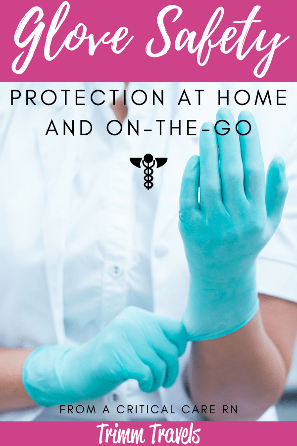 It's important when wearing gloves to know how to take them off to protect yourself from contamination. As a former critical care RN, I show you how! #health #safety #gloves #virus #protection #home #travel #tips