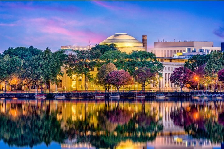 Twilight view of Cambridge Massachusetts with water reflection