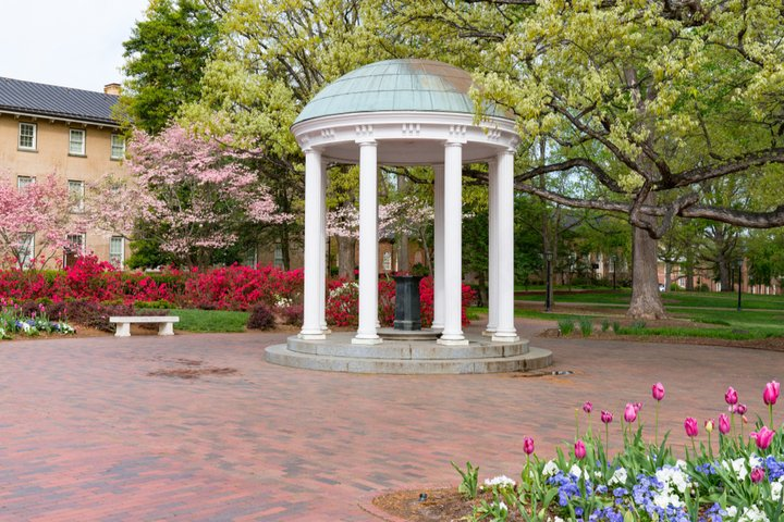 The Old Well with spring flowers at the University of North Carolina Chapel Hill