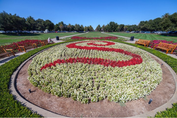 View of the S made of flowers at Stanford University in Palo Alto, California