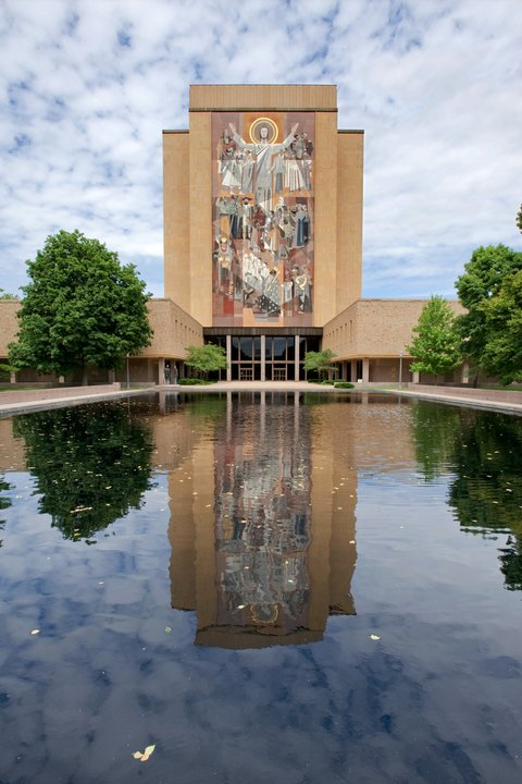 The Word of Life mural with water reflection at the University of Notre Dame