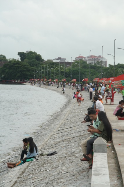 Young people hanging out at Inya Lake.