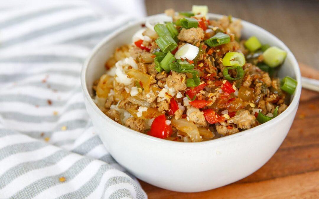 Keto Burrito Bowls in white bowl