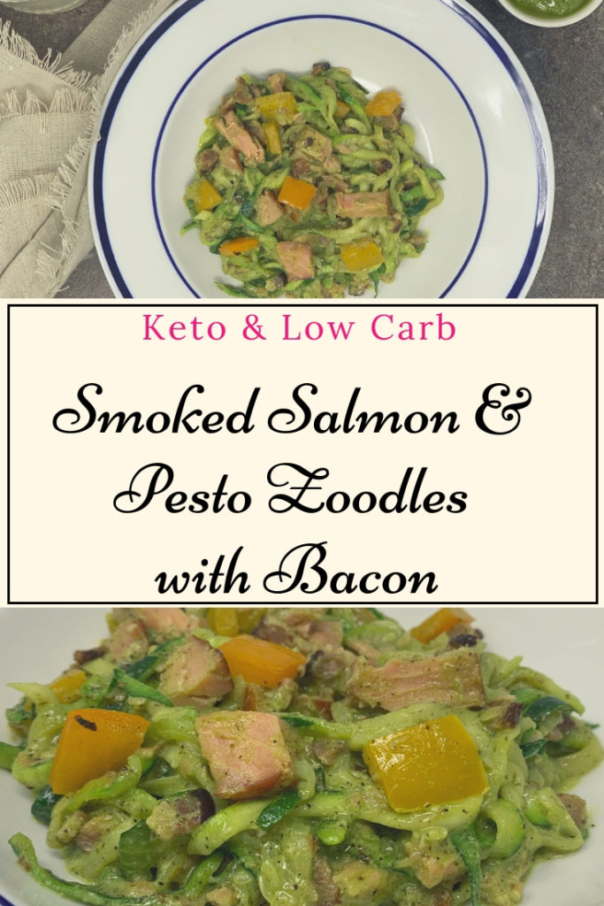 Keto Smoked Salmon & Pesto Zoodles with Bacon