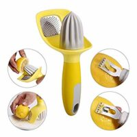 4 in 1 Citrus Tool - Lemon Zester, Channel Knife, Citrus Reamer, Grater - Seed Catcher to Avoid Mess - Soft-Touch Grip - Compact for Easy Storage - Dishwasher Safe - by KITCHENDAO
