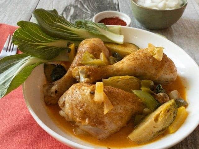 Keto Curry Chicken Drumsticks and Veggies