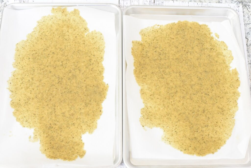 Keto Breadcrumbs Ingredients on baking sheet