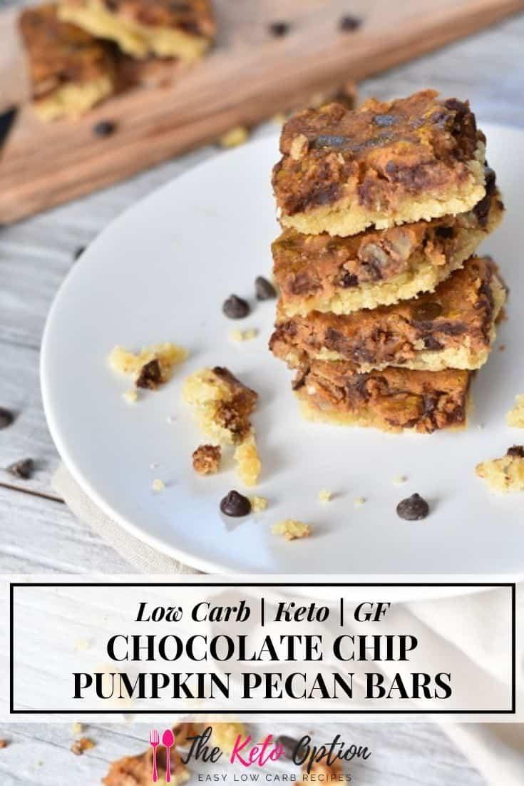 Keto Chocolate Chip Pumpkin Pecan Bars