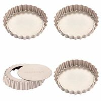 CHEFMADE Mini Tart Pan Set, 4-Inch 4Pcs with Removable Loose Bottom Non-Stick Round Quiche Bakeware, FDA Approved for Oven and Instant Pot Baking (Champagne Gold)