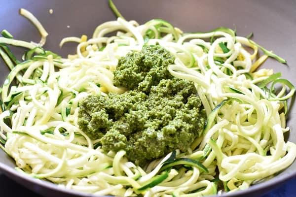 Keto Almond Pesto Zucchini Noodles