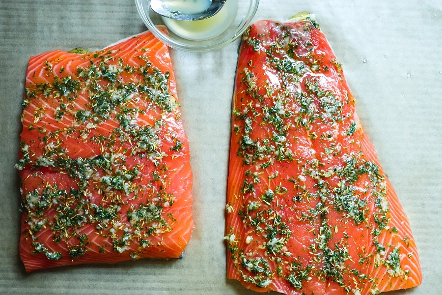 Lemon Rosemary Salmon raw with spice rub