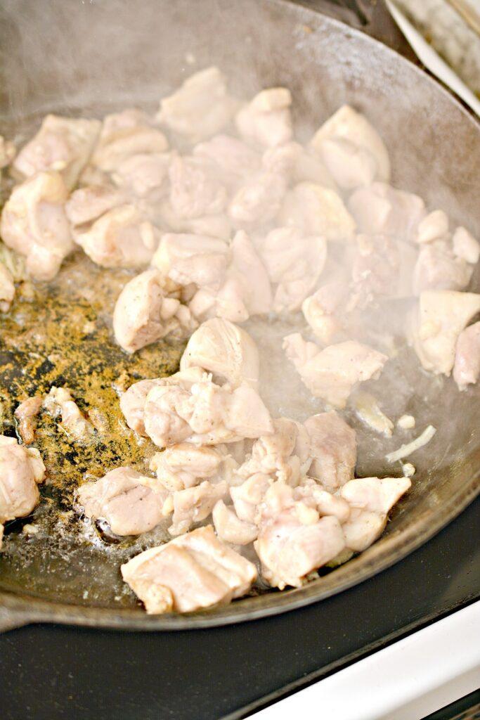keto pot pie mixture in pan