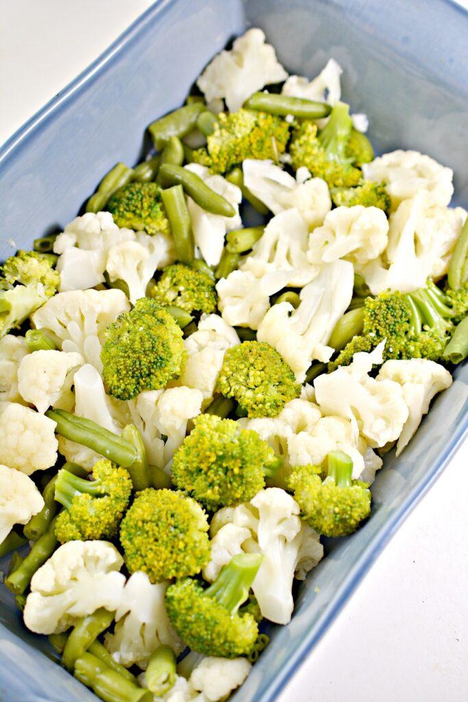 Broccolli and Cauliflower in pan
