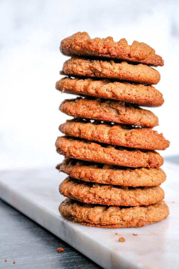 Keto Almond Butter Cookies stacked