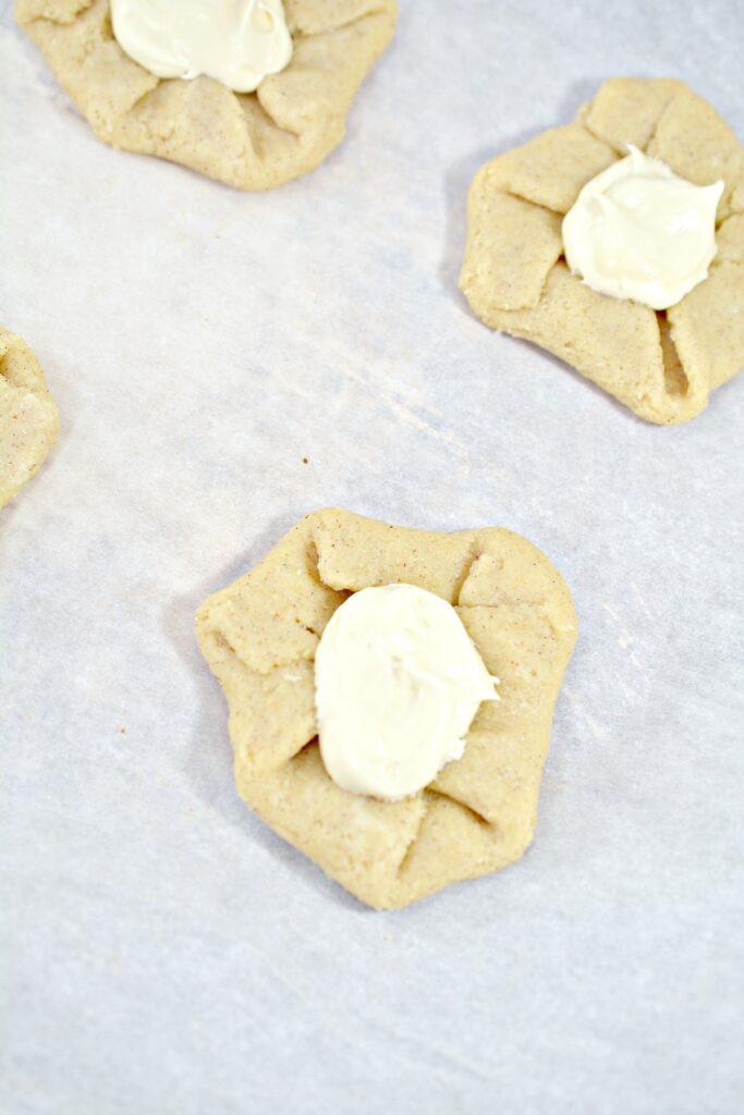 Keto Cheese Danish on baking sheet