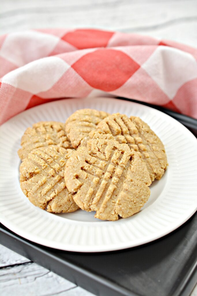Keto Peanut Butter Cookies on white plate