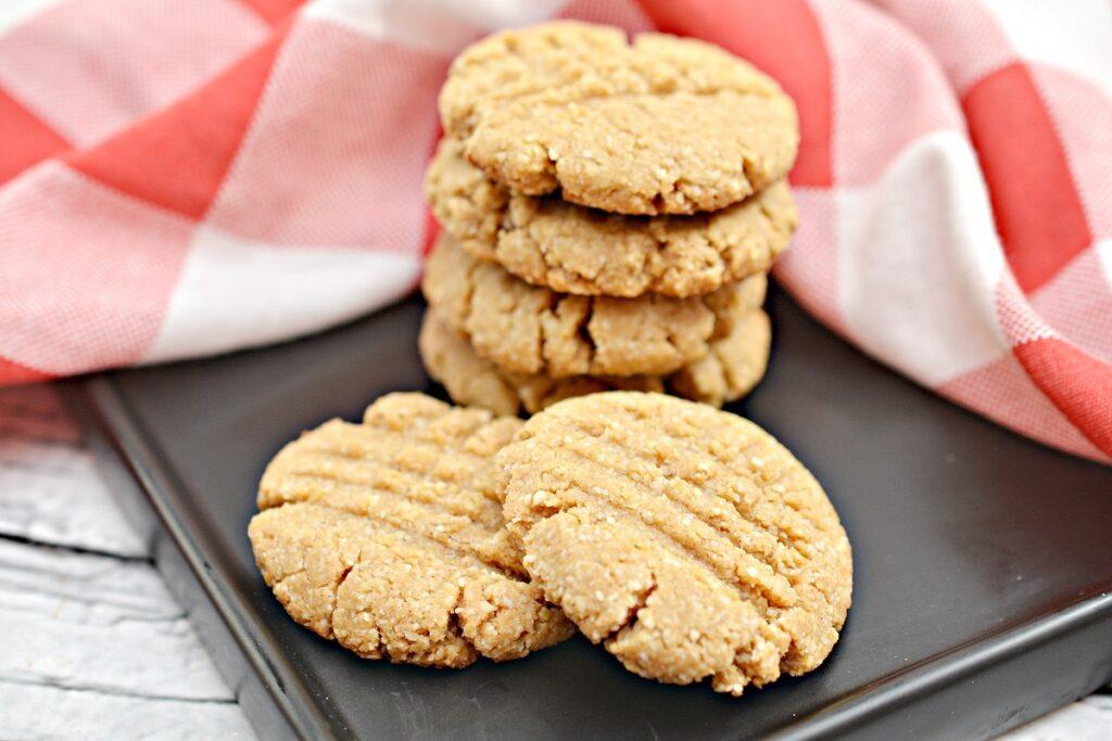 Keto Peanut Butter Cookies on black plate