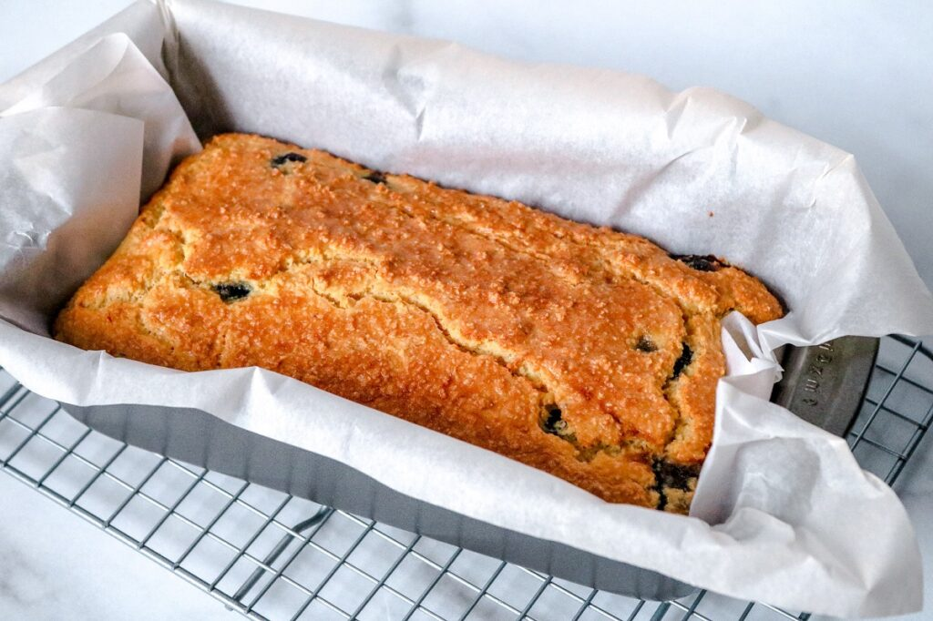 Keto Blueberry Bread in loaf pan