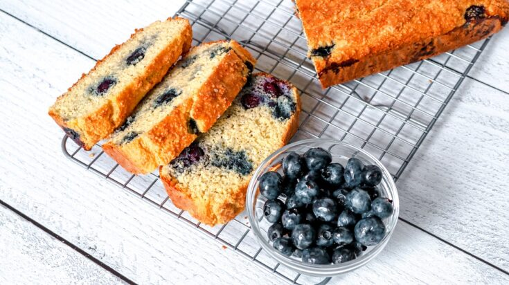 Keto Blueberry Bread sliced on wire rack