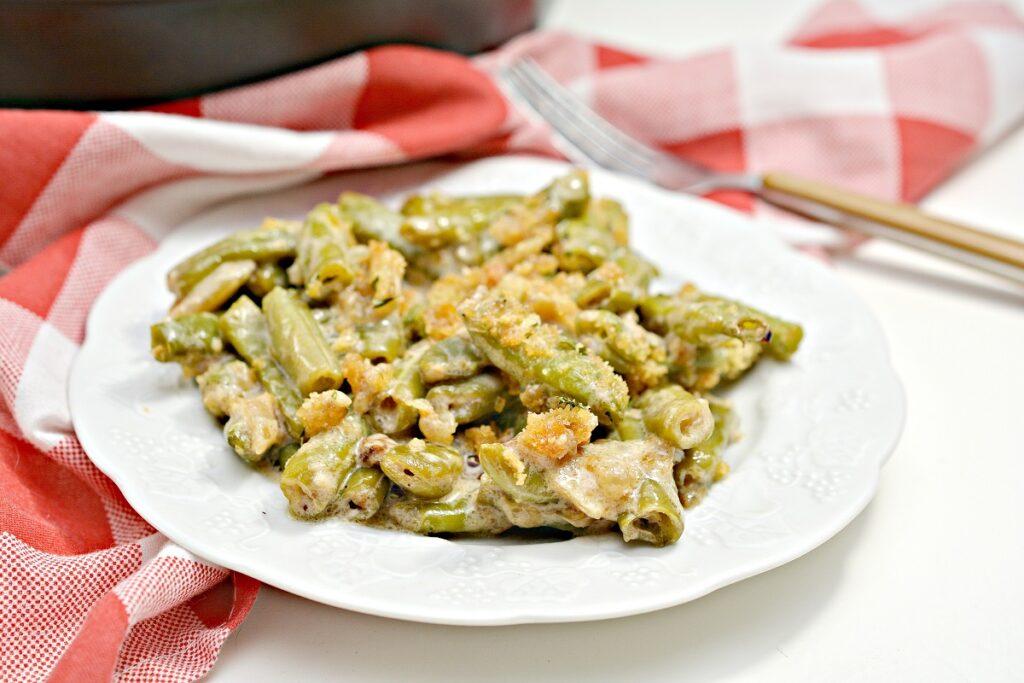 Keto Green Bean Casserole on a plate