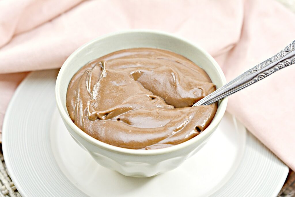 Keto Chocolate Pudding in white bowl