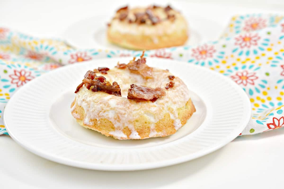 Keto Maple Donuts with Bacon on white plate