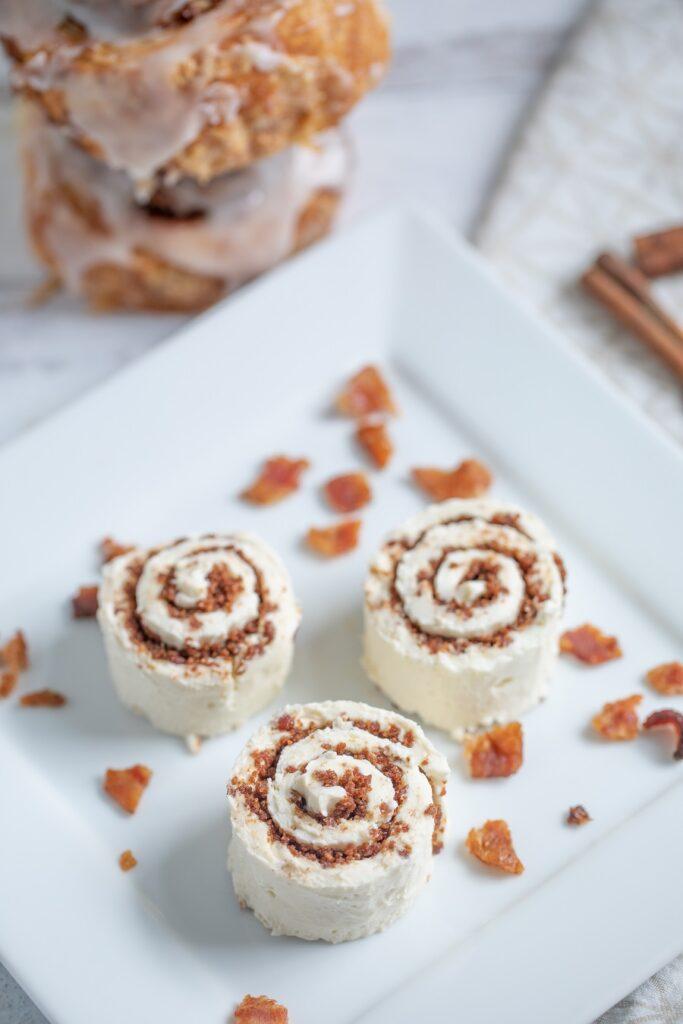 Keto Cinnamon Roll Bites on white plate