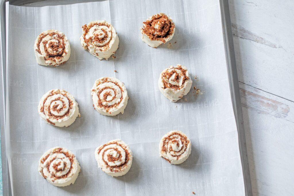 Keto Cinnamon Roll Bites on baking sheet