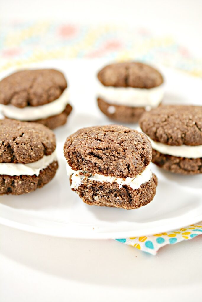 Keto Whoopie Pies on white plate