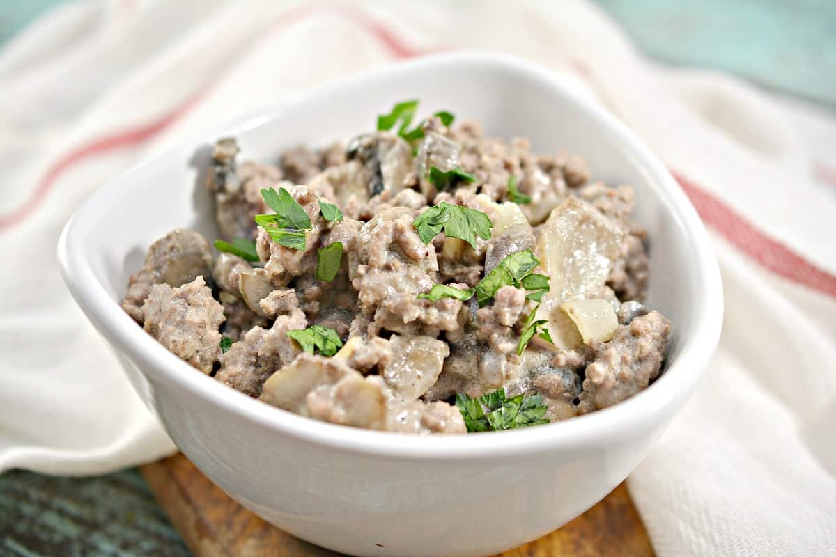Keto Beef Stroganoff in white bowl