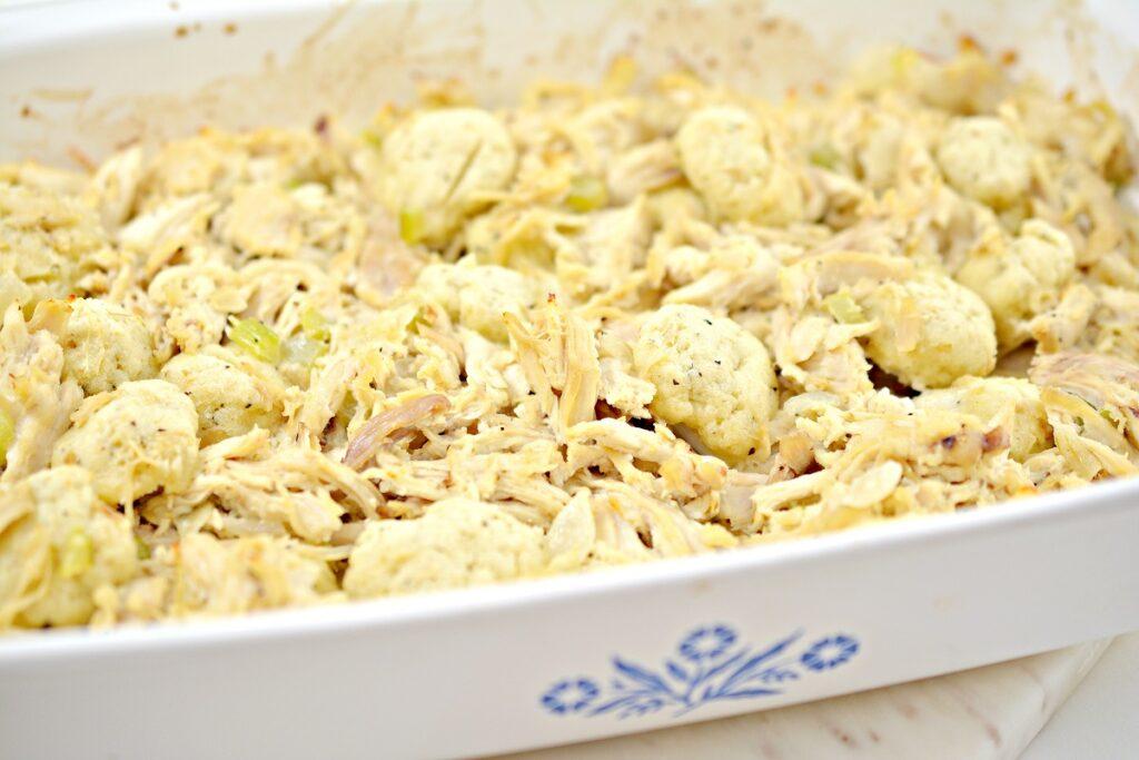 Keto Chicken and Dumplings in casserole dish