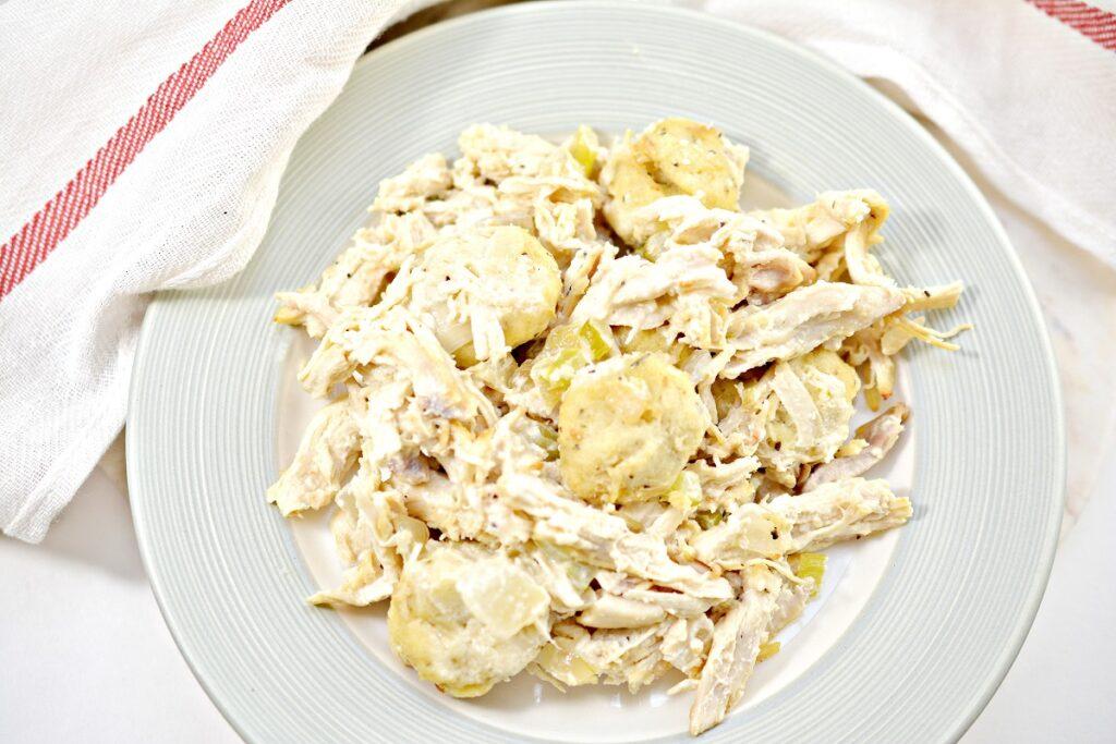 Keto Chicken and Dumplings on white plate