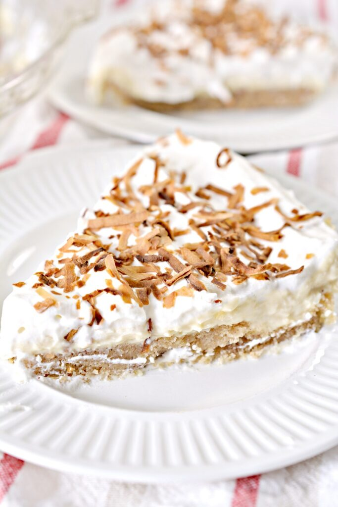 Keto Coconut Cream Pie on white plate