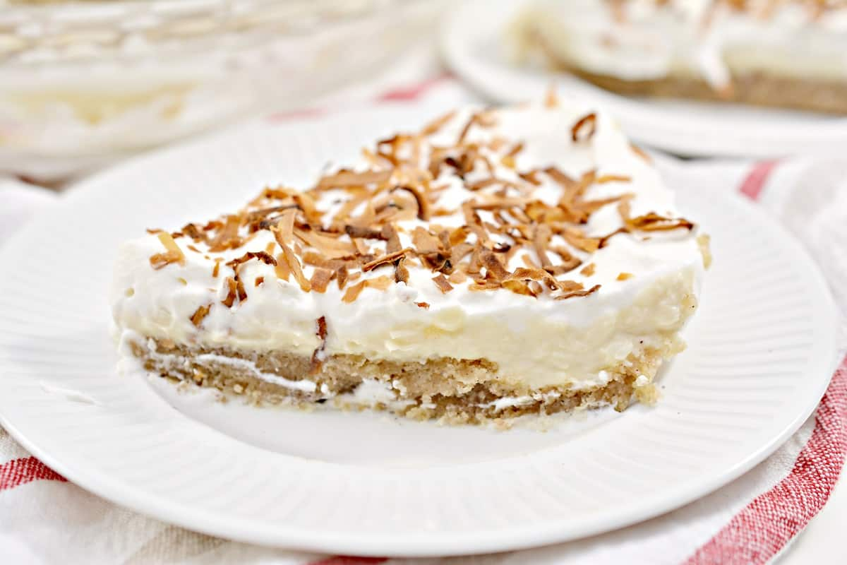 Keto Coconut Cream Pie on white plate