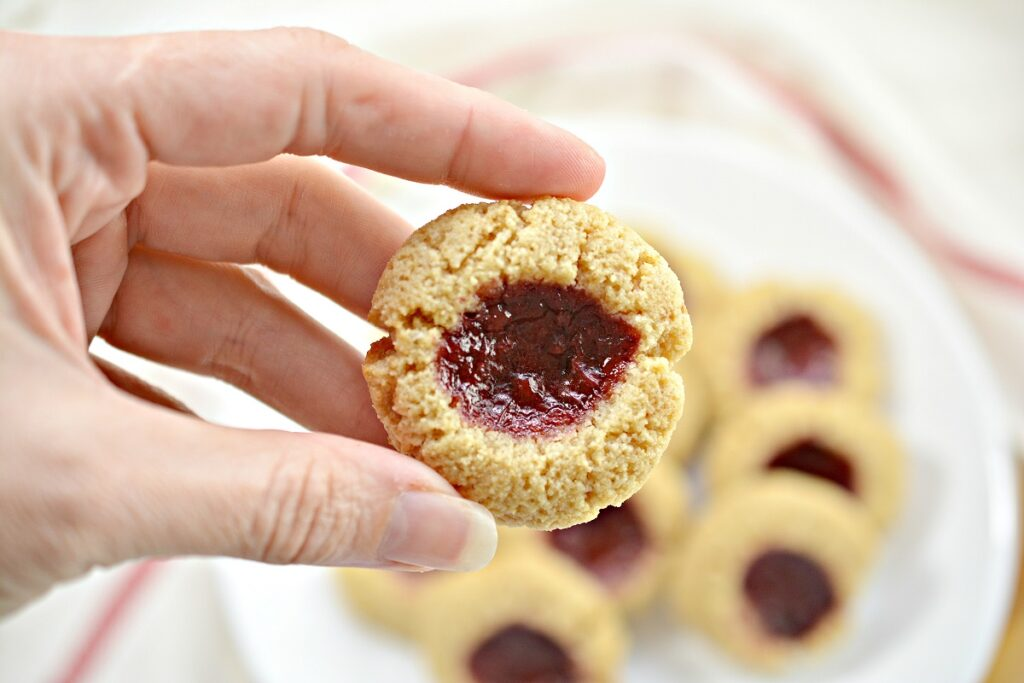 Gluten Free Thumbprint Cookies close up