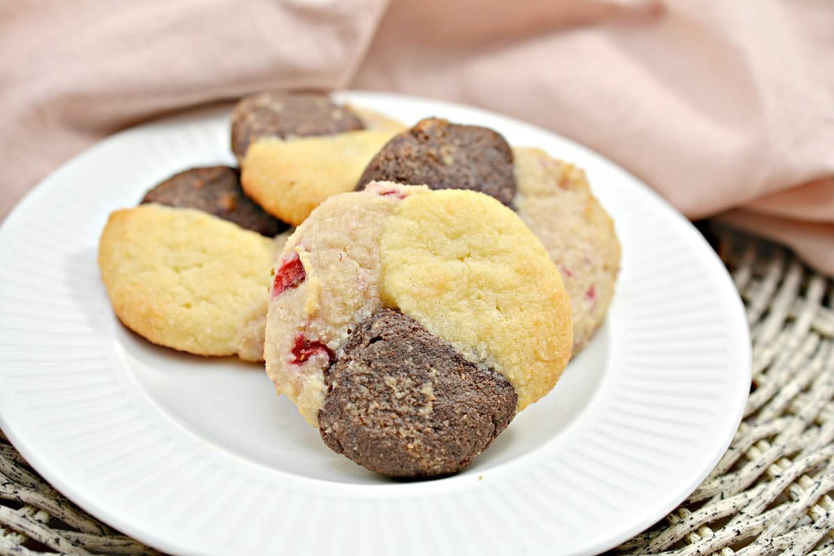 Keto Neapolitan Cookies on white plate