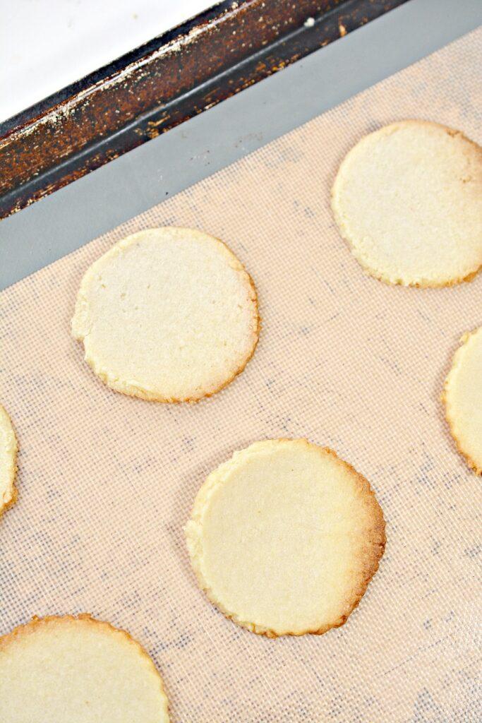 Keto Shortbread Cookies on baking sheet