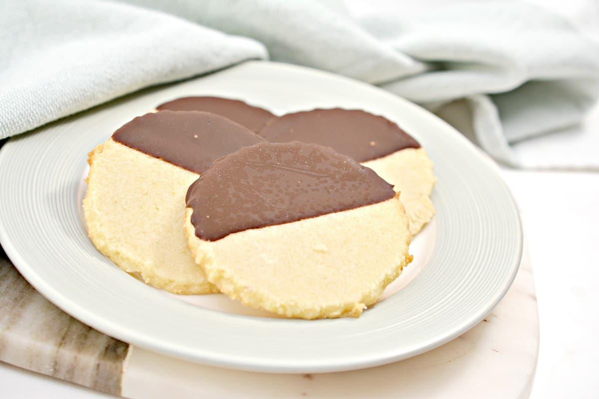 Keto Shortbread Cookies on white plate