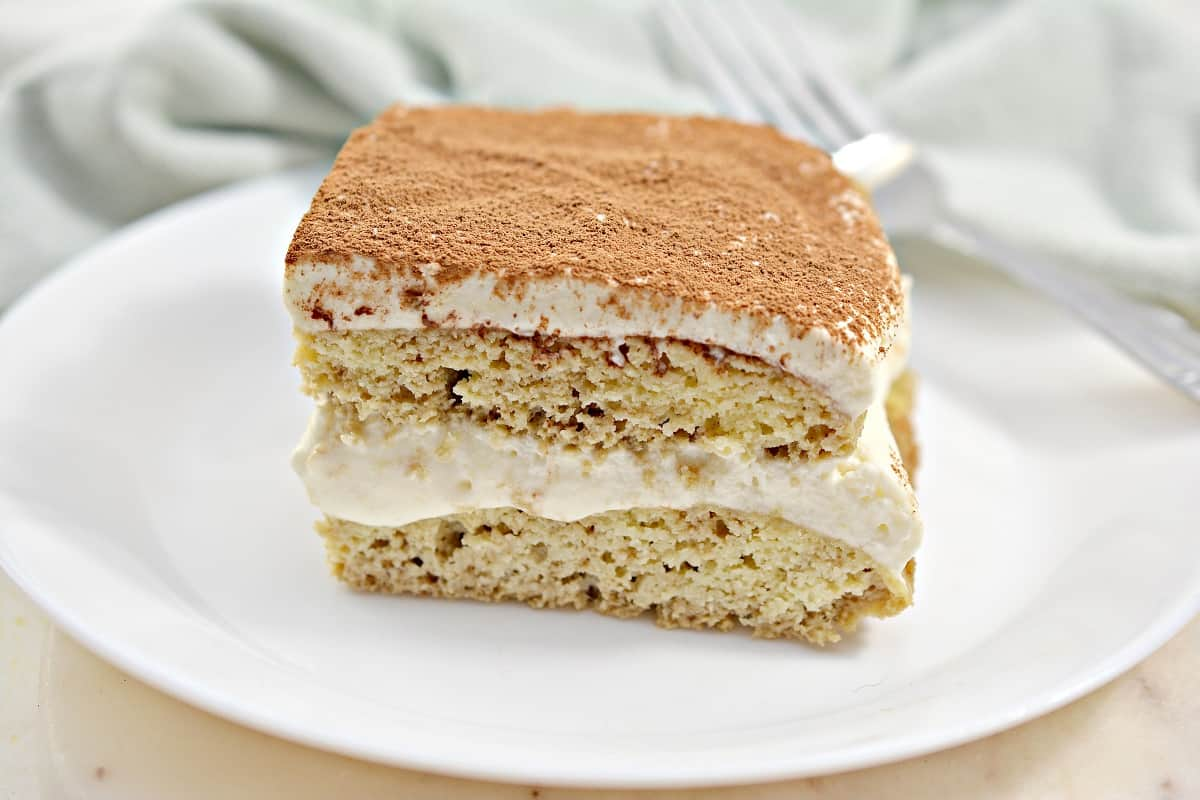 Keto Tiramisu on white plate