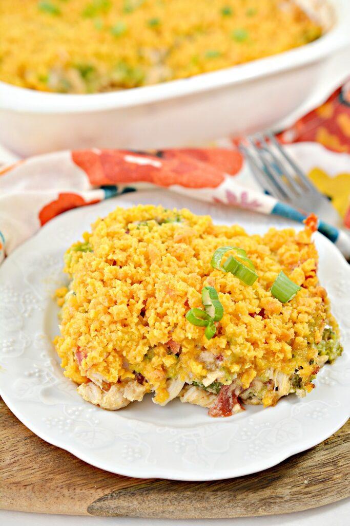 Dorito Chicken Casserole on white plate