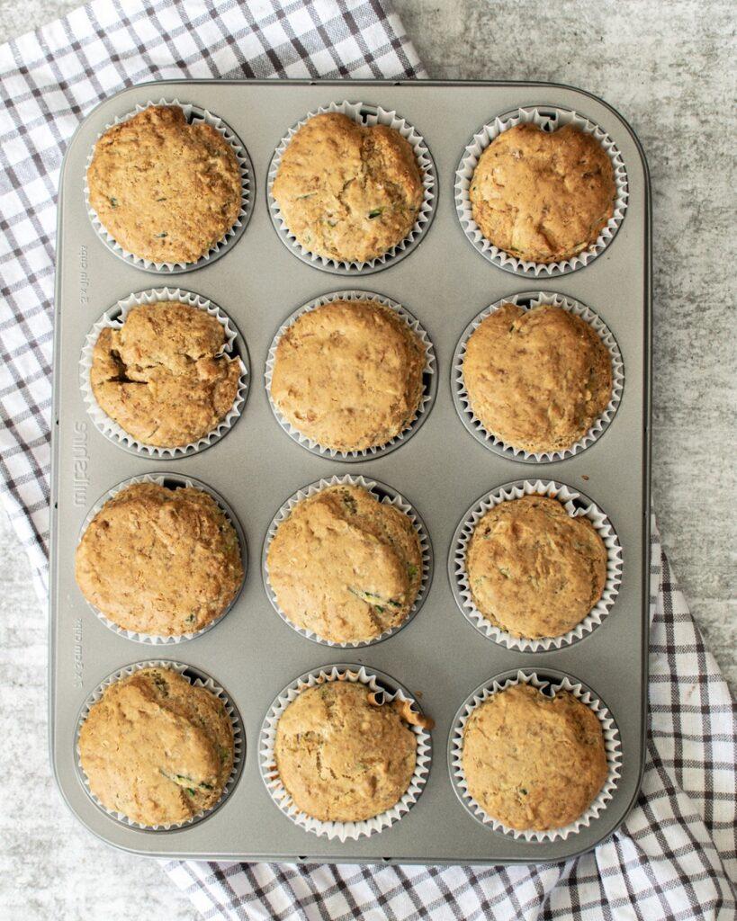 Vegan Zucchini Muffins in muffin tin