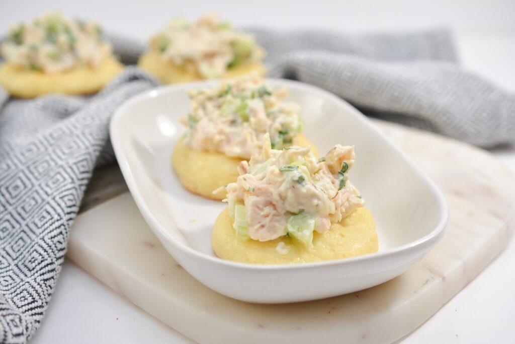 Keto Egg Salad Snacks in white bowl