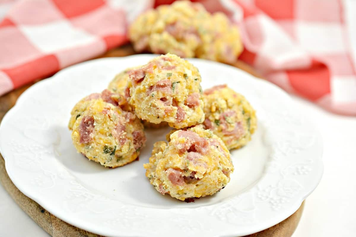 Keto Ham and Cheese Bites on white plate