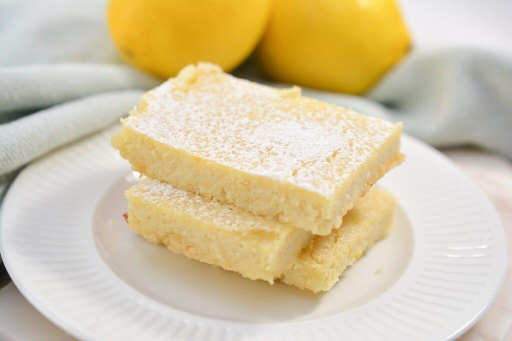 Keto Lemon Bars on white plate