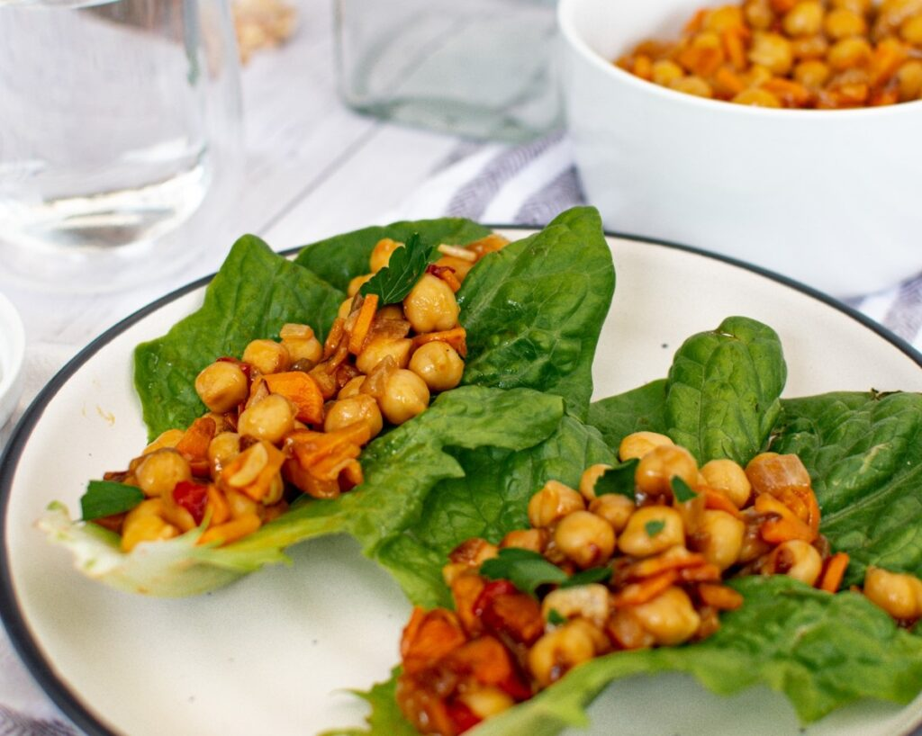 Low Carb Vegetarian Lettuce Wraps with Chickpeas on white plate