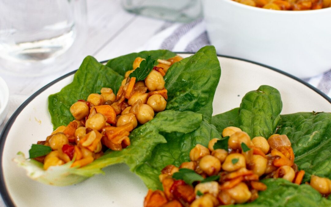 Low Carb Vegetarian Lettuce Wraps with Teriyaki Chickpeas
